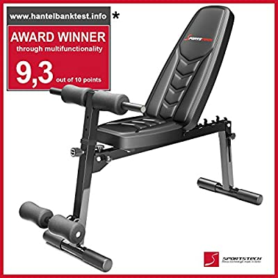 Sportstech BRT500 8in1 Weight Bench with ergonomic EVA padding material (foldable, intelligent folding system, anti-slip design, push-up handles, curl station, leg fixation) black from Sportstech