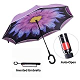 TravelEase Ombrello Inverso con Striscia di Riflessione Leggera, Ombrello Invertito Automatica a Doppio Strato, L'ombrello Auto-Aperta con Manico a Forma di C (Viola Daisy)