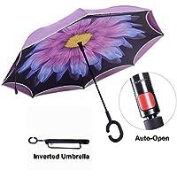 Paraguas invertido con tira reflectora de luz, paraguas reversible para autos de doble capa, TravelEase paraguas autoabrible y autolevantado con mango en forma de C y bolsa de transporte para manos libres ?Purple Daisy?