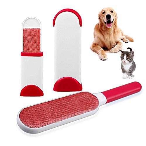 Hurricane Pelz Pet Bürste, Pet Hair Fur Remover-Reusable, Home Reinigungsbürste Haustier Bürsten Tierbürste für Katzen, Hund und Möbel Haar (mit Travel Size) (Rot)