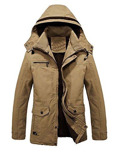 Cappotto Caldo Invernale Con Cappuccio Pelliccia Da Uomo Cachi