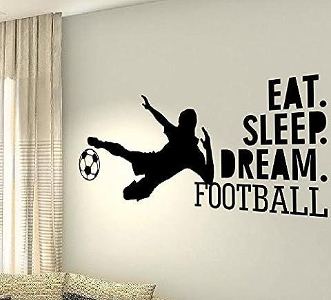 Eat Sleep Football Dream–Lecteur Jeu Santé Cœur Sport Hobby Life famille Love House Together Citation mur Stickers Stickers en vinyle DIY ART