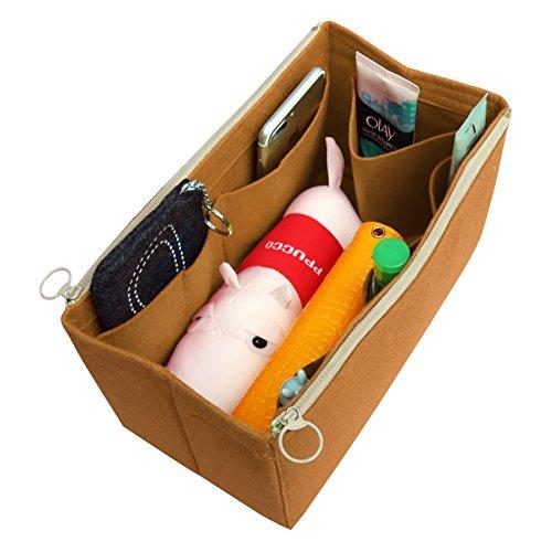 Braun Market Tote ([Passt verschiedene Taschen, L.V. Her.mes Long.champ Go.yard] Filz Tote Organizer (w / abnehmbare Reißverschluss-Tasche), Geldbörse einfügen, Kosmetik-Make-up-Windel-Handtasche, Taschen)