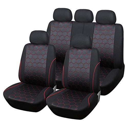 züge Waschbar Airbag Kompatibel Auto Innen Zubehör für Kinder Hund Pet Schutz Rot & Schwarz ()