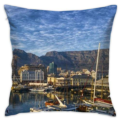 LULABE Bay Boats Cape Town Decorative Throw Pillow Modern Square Form Stuffer for Couch Sofa Or Bed Set Cozy Home Decor Size:18 X 18 Inches/45cm x 45cm (Black Womens Hooded Cape)