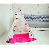 Amazinggirl Teepee Play Tent Tipi Children Indian Wigwam Indoor and Outdoor Playhouse with Window Hideout for Kids Cotton Canvas Pine Wood Poles