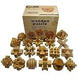 Gracelaza 18 Piezas Juguetes Rompecabezas de Madera Caja Set - IQ Juguete Educativo - 3D Brain Teaser Puzzle de Madera - Juego Ideales y Regalos para Niños y Adolescentes