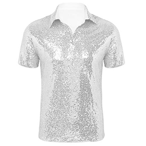 Disco Für Erwachsene Shirt Kostüm - CHICTRY Herren Pailletten T-Shirt Hemd Bluse mit Kentkragen 70er 80er Disco Shirt Party Hippie Karneval Fasching Kostüm Sliber Gold Schwarz Silber Medium
