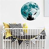 3D Wandsticker Leuchtaufkleber Leuchtsticker Großer Mond Wandaufkleber Hausdekoration für Schlafzimmer Wohnzimmer Kinderzimmer Fluoreszierender Aufkleber 5cm / 30cm (Blau C, 30CM)