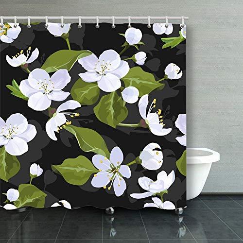 Qian Mu888 Home Decor Bathroom Shower Curtain Apple Blossom Seamless Pattern Flowered Backgrounds Textures Background Backgrounds Textures Apple Blossom Pattern