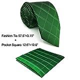 Shlax&Wing Classic Dark Verde único Checkes Corbatas Para Hombres Seda Tie Corbata Flaca Extra...