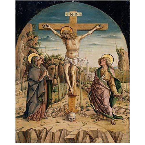 enpingan Leinwand Kalligraphie Malerei Retro Christian Kruzifix Jesus Christentum Poster und Drucke Wohnzimmer Kirche Dekoration-60x80cm Kein Rahmen