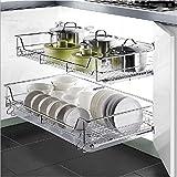 2pcs Egouttoirs à Vaisselle Coulissant sur Rail en Metal Chromé Support Panier Rangement Assiettes Couverts Ustensiles de Cuisine pour Placard de Cuisine (pour placard 40cm)