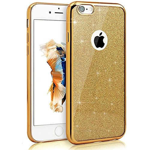 iPhone 6 Custodia, iPhone 6s Cover, MAOOY Colorato Soft TPU Silicone Moda Luccichio Case con Glitter Bling Flash Strass Plating Edge Border Clear Ultra Sottile Leggera Protettivo per 4.7Apple iPhone  Oro