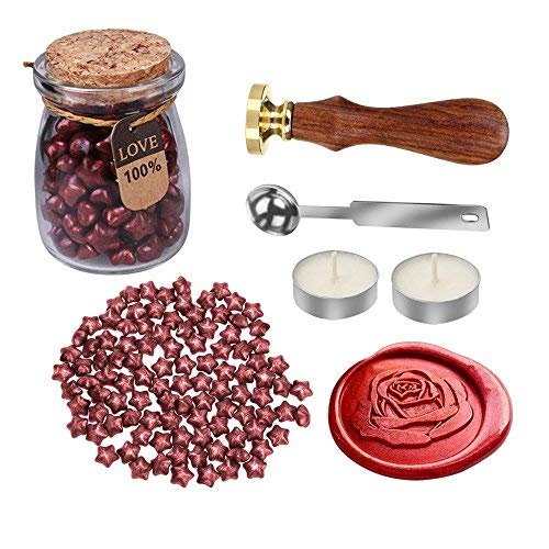 MyLifeUNIT, kit con ceralacca e timbro a forma di rosa per matrimonio, set in stile retrò per sigillare buste con la ceralacca 110 mm*200 mm*90 mm Red
