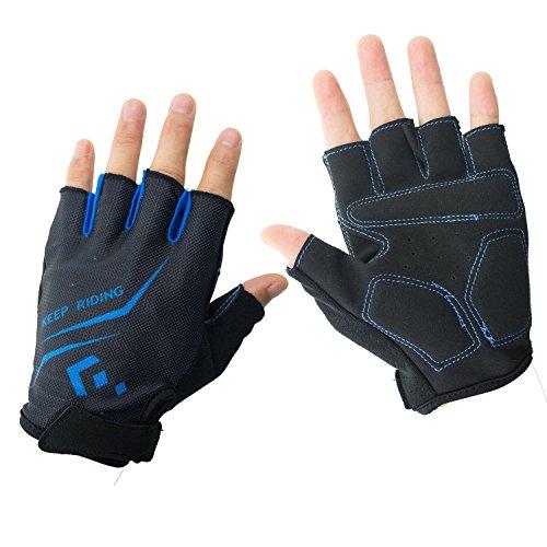 Hicool Fahrradhandschuhe Fitness- und Trainingshandschuhe Halb Finger Radsporthandschuhe Handschuhe für Herren und Damen - Ideal gloves für Radsport, Camping und mehr Sports im Freien (Blau, L)