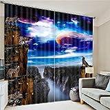 CHLNCL 3D Fenster Gardinen Raum Planet Wolf Gruppe Digitale Kunst dekorativ drucken Personalisierte Rauschunterdrückung Polyester, a