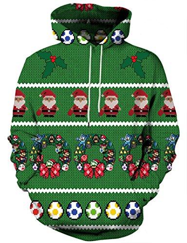 LAIDIPAS Unisex 3D Gedruckte Christmas Sweatshirts Galaxy Langarm Pullover Grafik Tier Kapuzenpullover M (Hoodie, Reißverschluss über Gesicht)