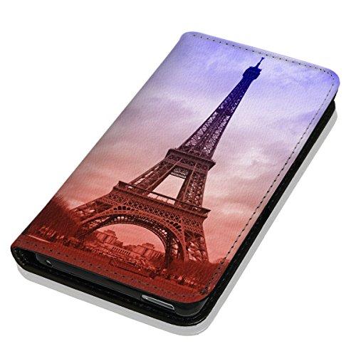 Hülle Galaxy J5 Modell 2016 Hülle Samsung J5 J510 Schutzhülle Handyhülle Flip Cover Case Samsung Galaxy J5 J510 Modell 2016 (OM1089 Eifelturm Paris Frankreich Blau Braun)