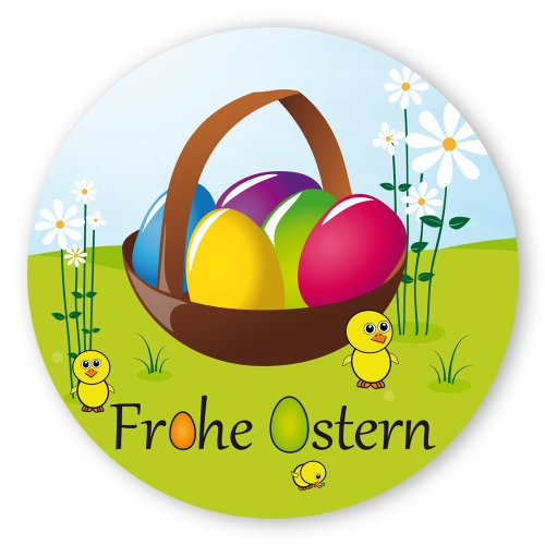 Oster-Aufkleber Ostern-Sticker rund Ø 30mm selbstklebende PE-Folie, 100 Stück auf Rolle Frohe Ostern mit Osterkorb
