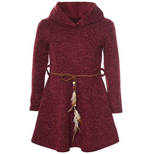 BEZLIT Mädchen Kleid Kostüm Kapuze Peticoat Festkleid Langarm 21578, Farbe:Bordeaux, Größe:128