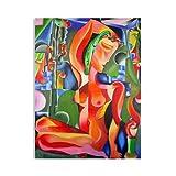 "Pintura Lienzo al Óleo Desnudo Abstracto Moderno ""DESNUDO ROJO"" por DOBOS, Cuadro Original para..."