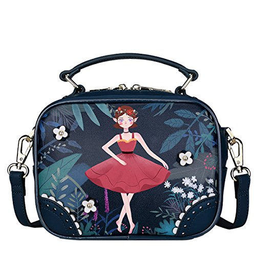 FZHLY Womens Portable Schultertasche Cartoon Printed Handtasche Personalisierte Mini Messenger Bag Single-shoulder Bag Anime