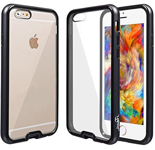 """IPhone 6 (4.7 """") étui transparent joah back fusion   coque de protection pour apple iPhone 6 4.7"""" rayures transparents slim fit coque de couverture avec selle absorbant shock tPU hybrid -autoschutziPh - Noir métallique"""