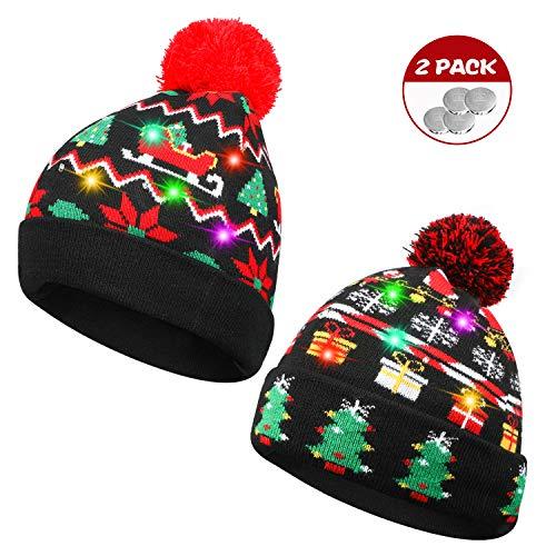 TAGVO 2 Pack LED leuchten Hut Mütze Stricken, 6 Bunte LED Xmas Weihnachten Hut Mütze, Winter Schnee Hut Pullover hässliche Urlaub Hut Beanie Cap