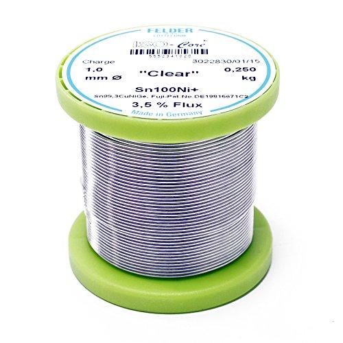 """Felder Lötdraht ISO-Core Lötzinn""""Clear"""" 1.0mm 0.25kg Sn100Ni+ Sn99,3CuNiGe"""