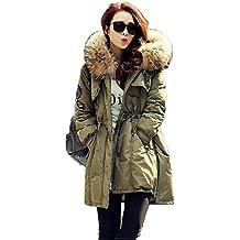 Homieco Cappuccio Piumino da Donna con Collo di Pelliccia Lungo Cappotti  Down Coat Inverno Addensare Parka 34167191cdef