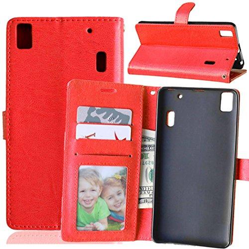 Beiuns para Lenovo K3 Note K50-t5 4G LTE (5,5 pulgadas) Funda de PU piel Carcasa - K118 rojo cálido