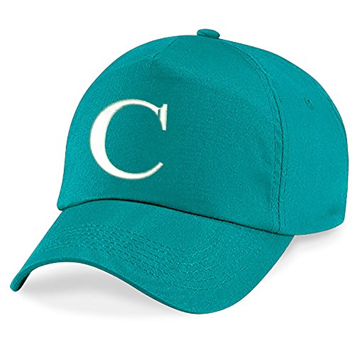 4sold Childrens Embroidery Cotton Summer Sun Hat Children School Kids Caps Hat Sport Alphabet A-Z Boy Girl Adjustable Baseball Emerald Green
