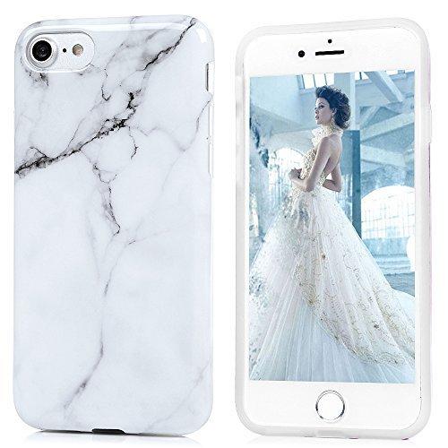 Funda Silicona iPhone 7, iPhone 8 Carcasa Ultrafina Mármol KASOS Case TPU Suave con Tratamiento Acabado de IMD y Dibujo de Mármol y Color Blanco Gris