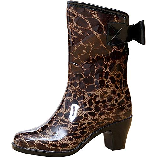 Wealsex Women Ladies Patterned Bowknot Waterproof Antislip Wellington Boots Wellies Girls Rain Boots Size 3.5-6