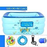 YUGNG Verdickt Umweltfreundliche PVC Familie Kinder Schwimmbad Gefaltet aufblasbare Baby Pool Ball Pool 125 * 90 * 60 cm für 1-2 Personen aufgeblasen Handpumpe