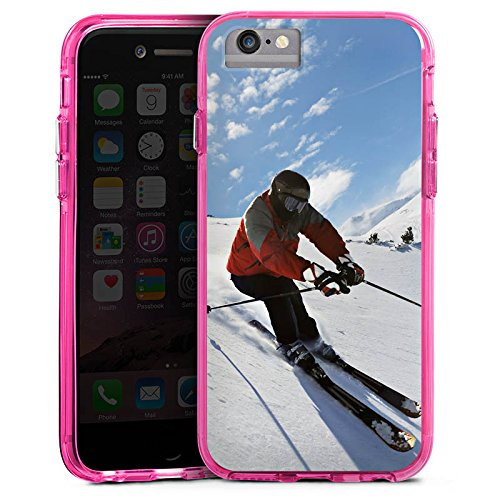 Apple iPhone 8 Bumper Hülle Bumper Case Glitzer Hülle Ski Snow Schnee Bumper Case transparent pink
