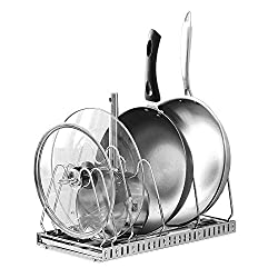 1208S Adjustable Pan Rack Pot Lid Holder Bakeware / Cookware Organizer, Stainless Steel