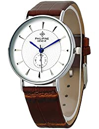 PHILIPINE Mens - Womens Analogue Rich Look Slim Silver Case White Dial Brown Leather Strap Wrist Watch (PHI1369)