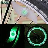 paaiter 2pcs para Bicicleta para radios de alambre de neumáticos válvula de neumático LED luz de neón (verde)
