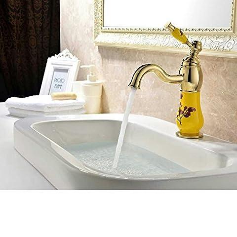 Tougmoo Eau chaude et froide robinet de lavabo en cuivre de l'eau chaude Basin-continental robinet, Plus d'un