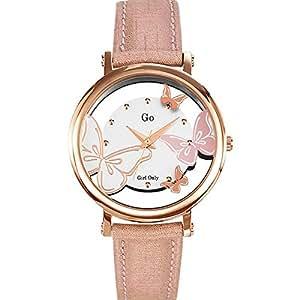 Go Girl Only - 698658 - Montre Femme - Quartz Analogique - Cadran Argent - Bracelet Cuir Rose