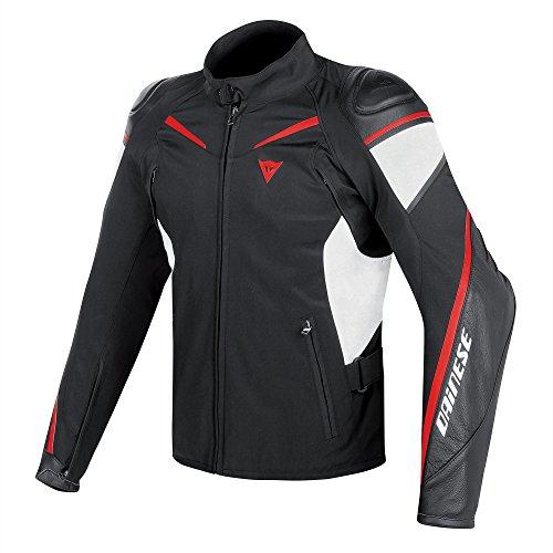 Dainese Street Master Leder-Tex Motorradjacke, Schwarz/Weiß/Lava Rot, Größe 52 (Leder Street Hose)