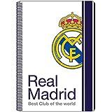 Safta SF-511654-066 - Libreta folio 80 hojas tapas duras, 1ª equipacion temporada 2016/2017, diseño Real Madrid