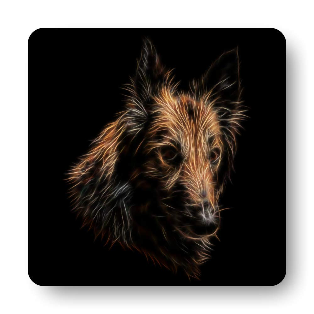 Fractal Artworks Belgian Shepherd, Belgian Tervuren Coaster with Fractal Art Design #1