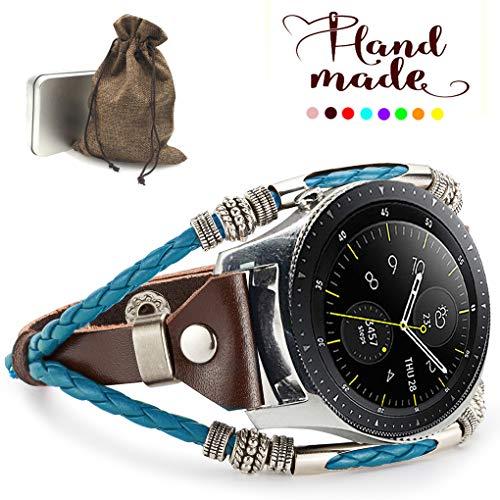 Omicton Marval.P Kompatible Samsung Galaxy Watch 42 mm Armband, 20 mm Universal für Samsung Gear S2 Bänder, auch handgefertigtes Leder-Ersatzarmband, verstellbare Mode Armband, Tiffany Blue