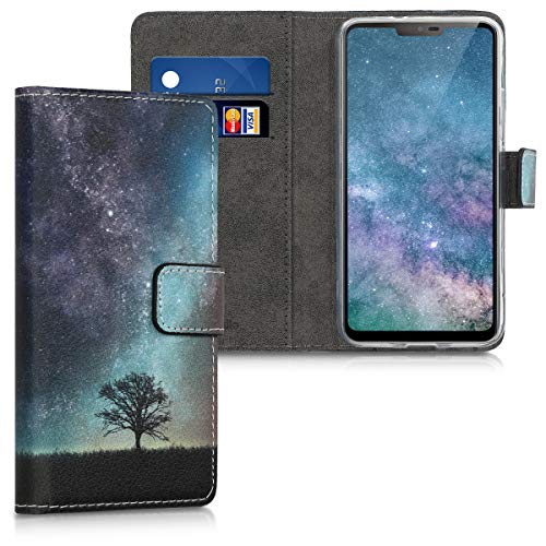 kwmobile LG G7 ThinQ/Fit/One Hülle - Kunstleder Wallet Case für LG G7 ThinQ/Fit/One mit Kartenfächern & Stand