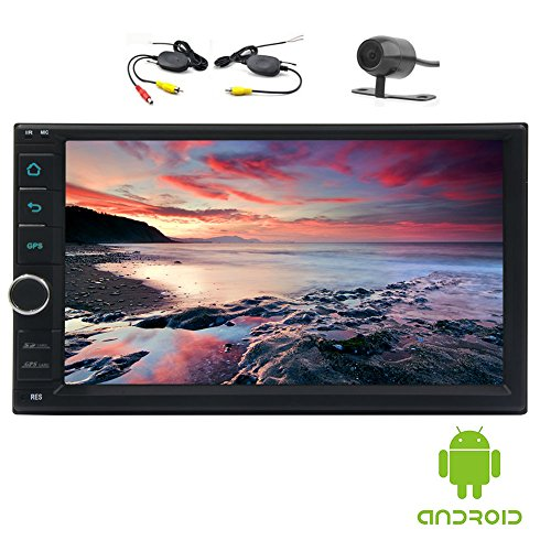 Wireless-Backup-Kamera + EinCar Double 2 Din Android 6.0 in Schlag-Auto-Stereo-Auto GPS-Navigation Head Unit Double 2 Din FM / AM / RDS Radio GPS Karte Wifi Bluetooth Spiegel Verbindung (Mb 512 Memory Unit)
