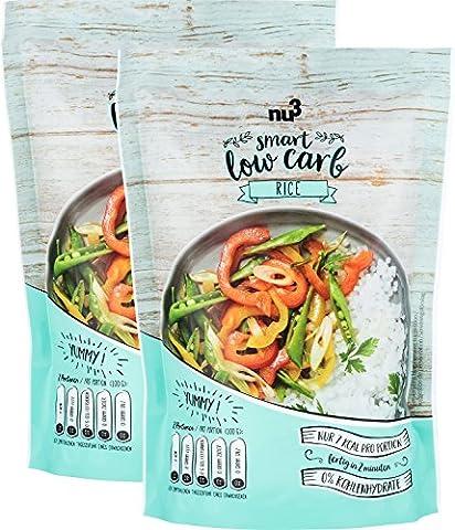 nu3 Low Carb Rice aus der Konjak-Glucommanan (kalorienarm), 2x 200g - Reis ohne Kohlenhydrate, nur 14 Kalorien je