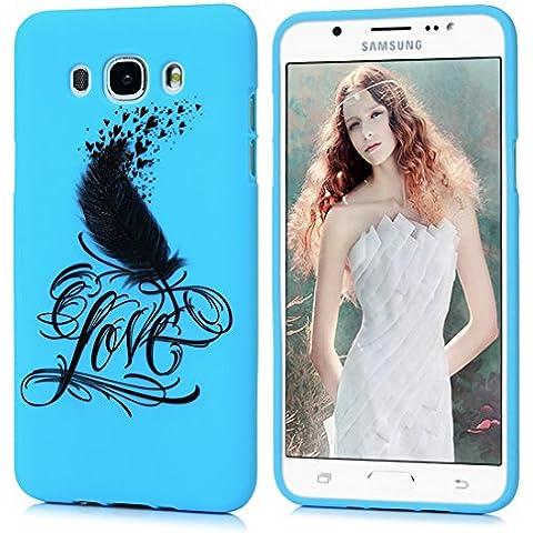 Custodia TPU Protettiva Cover Samsung Galaxy J5 2016 (NON per 2015), Badalink Gel Case Macchia Scrub con Penna Immagine Amore Love (Blu)